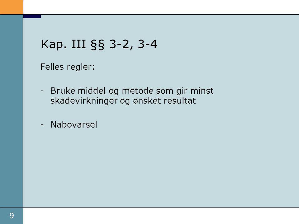 9 Kap. III §§ 3-2, 3-4 Felles regler: -Bruke middel og metode som gir minst skadevirkninger og ønsket resultat -Nabovarsel