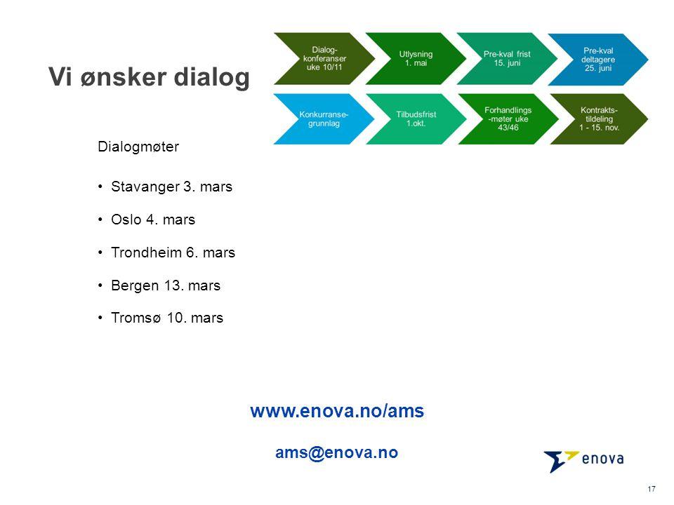 Vi ønsker dialog Stavanger 3. mars Oslo 4. mars Trondheim 6. mars Bergen 13. mars Tromsø 10. mars 17 Dialogmøter www.enova.no/ams ams@enova.no