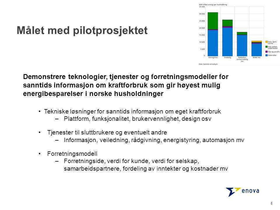 Målet med pilotprosjektet Tekniske løsninger for sanntids informasjon om eget kraftforbruk –Plattform, funksjonalitet, brukervennlighet, design osv Tj
