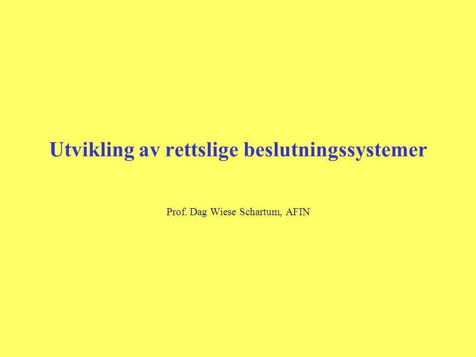 Rettslige beslutningssystemer, omgivelser og utfordringer Rettslige tekstsystemer Rettslige beslut- ningssystemer Autentiske rettskilder Rettskilder transformert til programkode manuelt Saksbehandlingssystemer Hva vil det si å transformere rettskilder til datamaskinprogrammer.