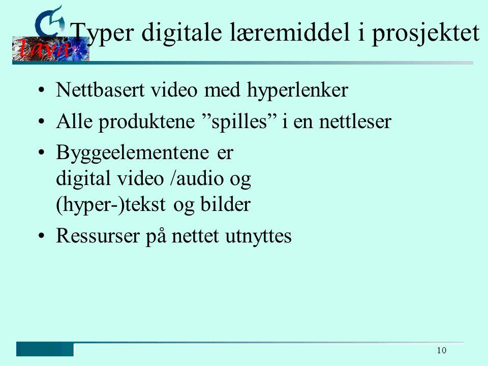 10 Typer digitale læremiddel i prosjektet Nettbasert video med hyperlenker Alle produktene spilles i en nettleser Byggeelementene er digital video /audio og (hyper-)tekst og bilder Ressurser på nettet utnyttes