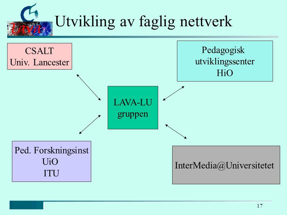 17 Utvikling av faglig nettverk LAVA-LU gruppen CSALT Univ.