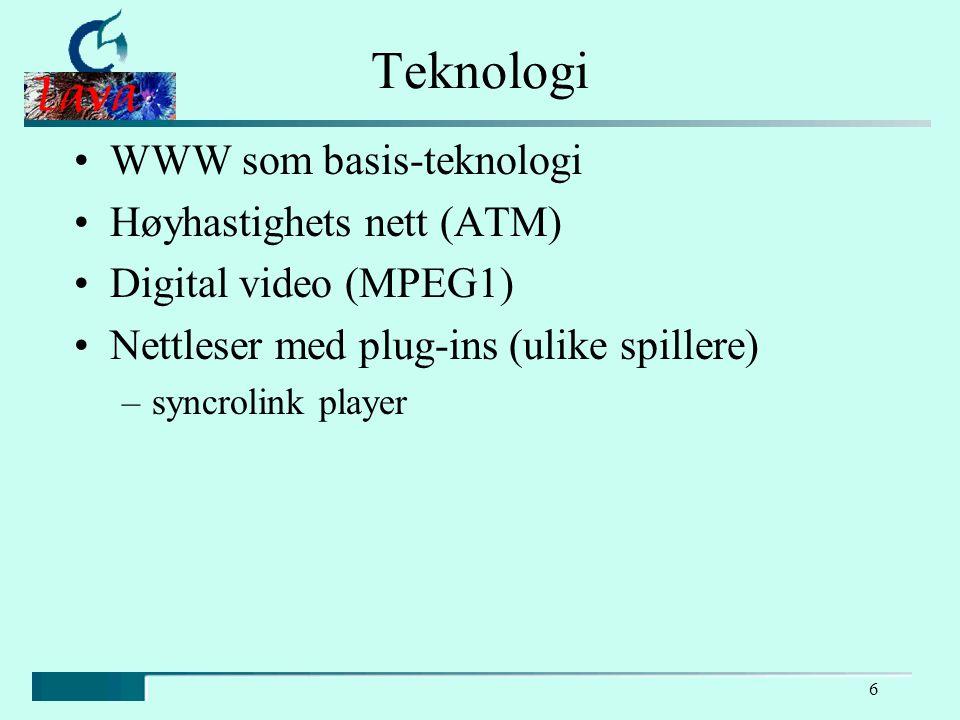 6 Teknologi WWW som basis-teknologi Høyhastighets nett (ATM) Digital video (MPEG1) Nettleser med plug-ins (ulike spillere) –syncrolink player