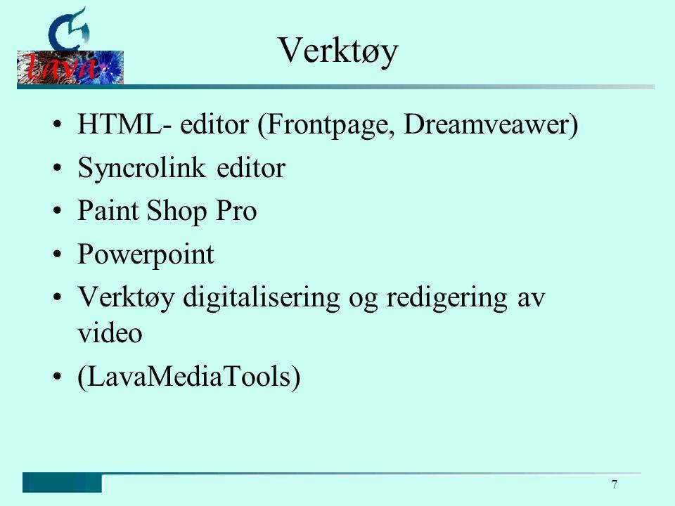 7 Verktøy HTML- editor (Frontpage, Dreamveawer) Syncrolink editor Paint Shop Pro Powerpoint Verktøy digitalisering og redigering av video (LavaMediaTools)