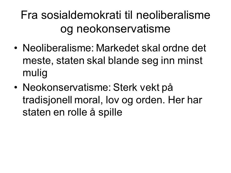 Fra sosialdemokrati til neoliberalisme og neokonservatisme Neoliberalisme: Markedet skal ordne det meste, staten skal blande seg inn minst mulig Neokonservatisme: Sterk vekt på tradisjonell moral, lov og orden.