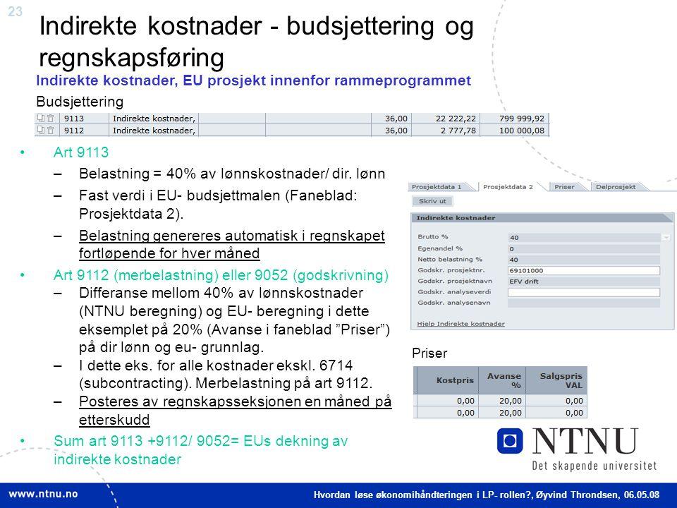 23 Indirekte kostnader - budsjettering og regnskapsføring Art 9113 –Belastning = 40% av lønnskostnader/ dir. lønn –Fast verdi i EU- budsjettmalen (Fan