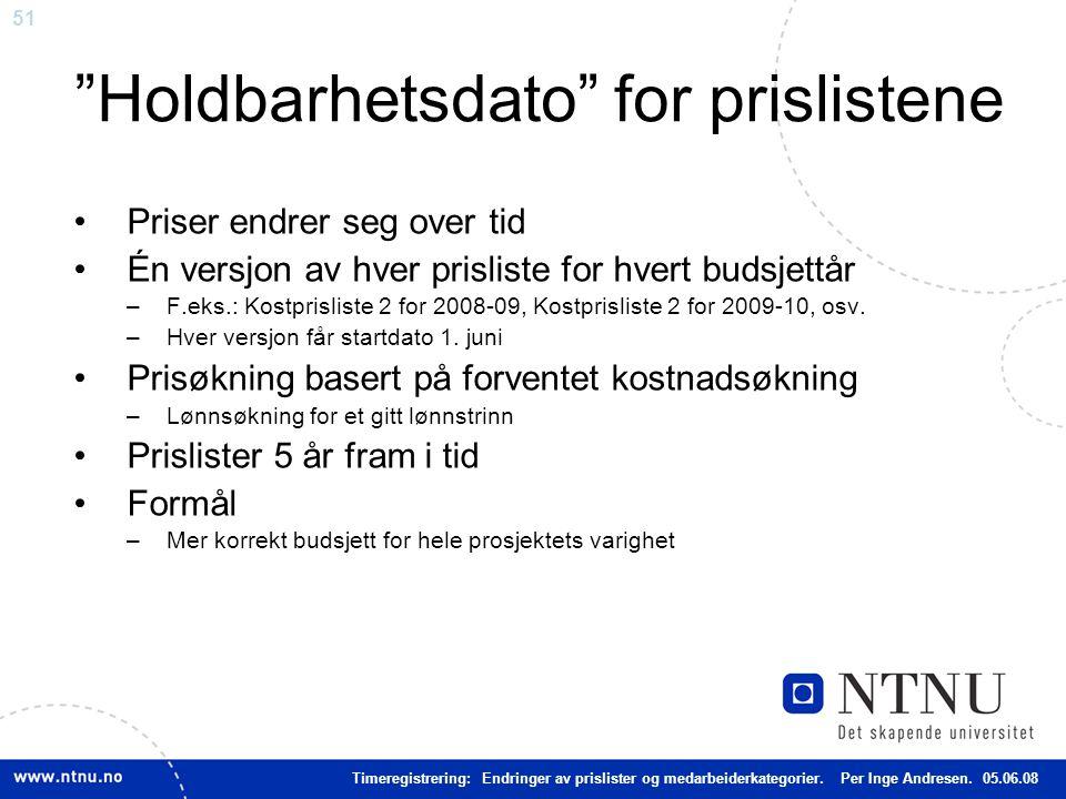 """51 """"Holdbarhetsdato"""" for prislistene Priser endrer seg over tid Én versjon av hver prisliste for hvert budsjettår –F.eks.: Kostprisliste 2 for 2008-09"""