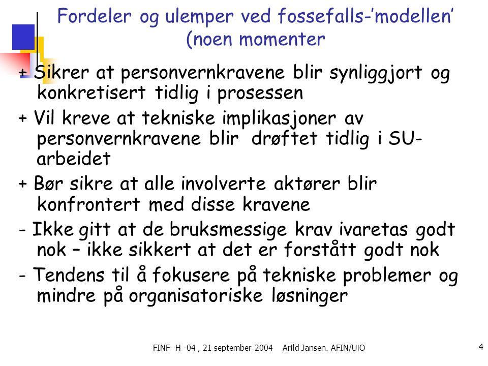 FINF- H -04, 21 september 2004 Arild Jansen. AFIN/UiO 4 Fordeler og ulemper ved fossefalls-'modellen' (noen momenter + Sikrer at personvernkravene bli