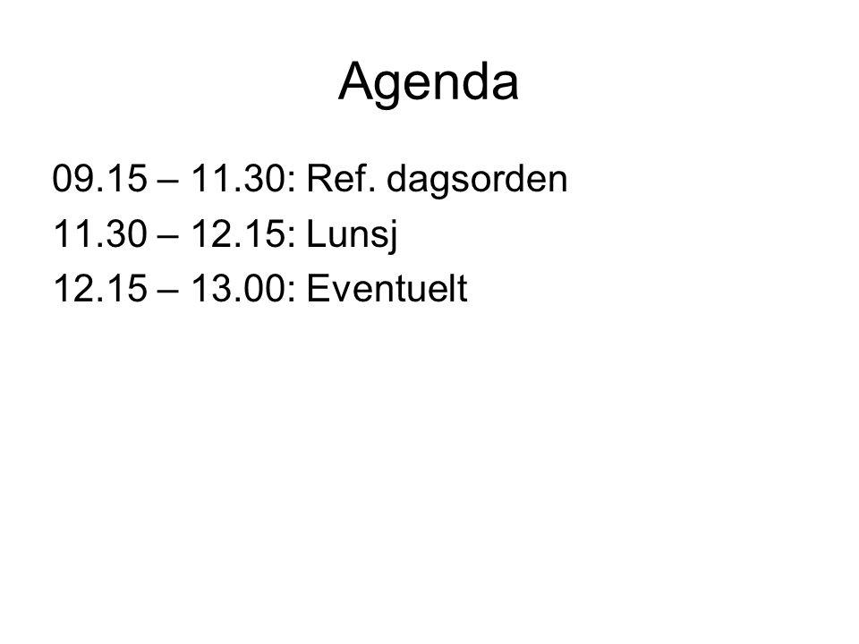 Agenda 09.15 – 11.30: Ref. dagsorden 11.30 – 12.15: Lunsj 12.15 – 13.00: Eventuelt
