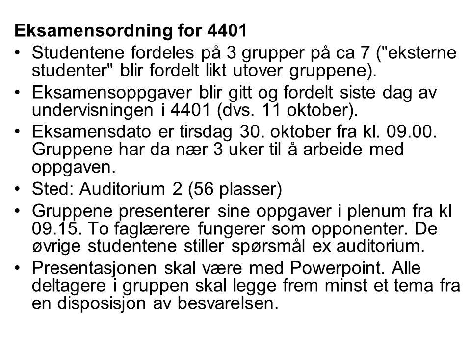 Eksamensordning for 4401 Studentene fordeles på 3 grupper på ca 7 (