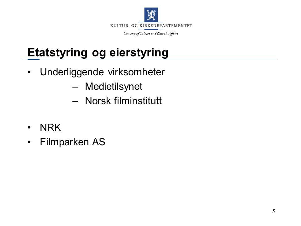 Ministry of Culture and Church Affairs 5 Etatstyring og eierstyring Underliggende virksomheter –Medietilsynet –Norsk filminstitutt NRK Filmparken AS