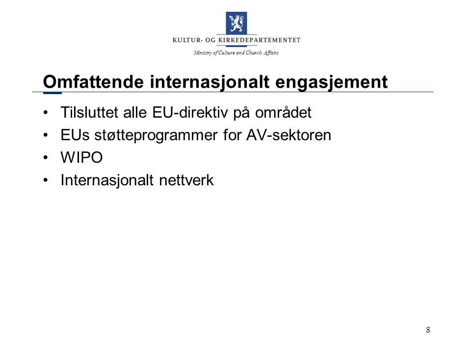 Ministry of Culture and Church Affairs 9 Aktuelle saker M1 Arbeid med ny åndsverklov Tredjelandsavtaler Oppfølging av diverse EU-initiativ Safer Internet Plus