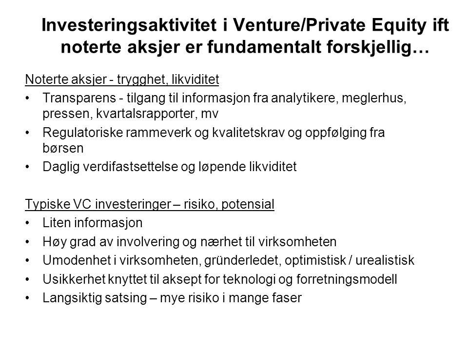 Investeringsaktivitet i Venture/Private Equity ift noterte aksjer er fundamentalt forskjellig… Noterte aksjer - trygghet, likviditet Transparens - til