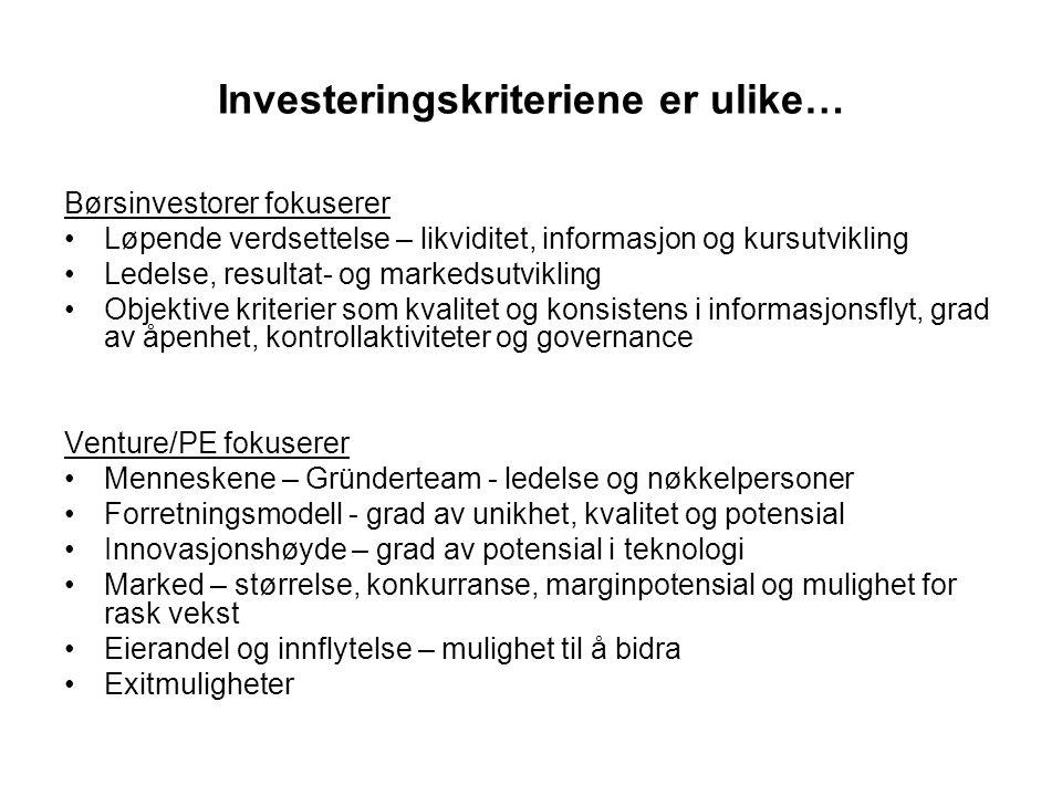 Investeringskriteriene er ulike… Børsinvestorer fokuserer Løpende verdsettelse – likviditet, informasjon og kursutvikling Ledelse, resultat- og marked