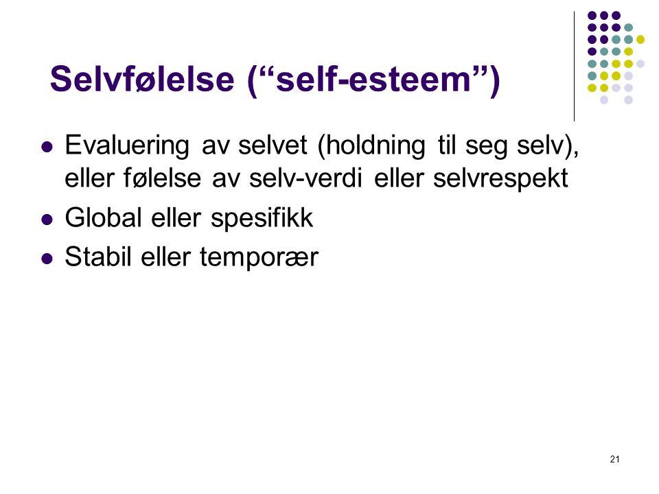 """21 Selvfølelse (""""self-esteem"""") Evaluering av selvet (holdning til seg selv), eller følelse av selv-verdi eller selvrespekt Global eller spesifikk Stab"""