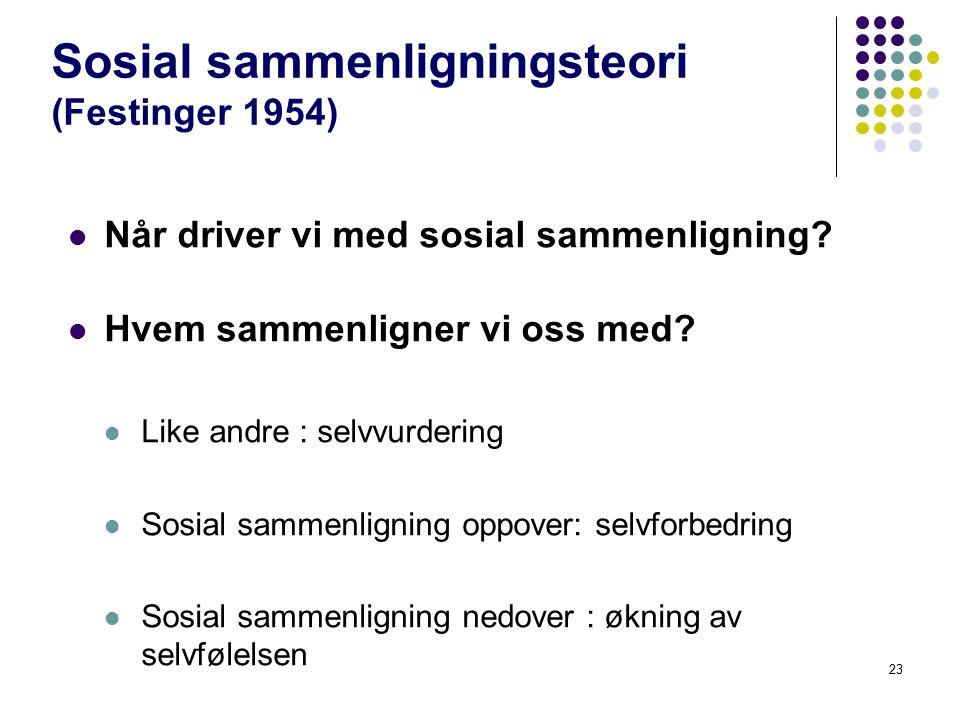 23 Sosial sammenligningsteori (Festinger 1954) Når driver vi med sosial sammenligning? Hvem sammenligner vi oss med? Like andre : selvvurdering Sosial