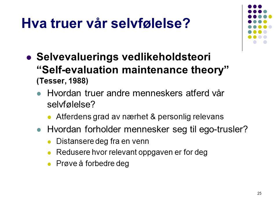 """25 Hva truer vår selvfølelse? Selvevaluerings vedlikeholdsteori """"Self-evaluation maintenance theory"""" (Tesser, 1988) Hvordan truer andre menneskers atf"""