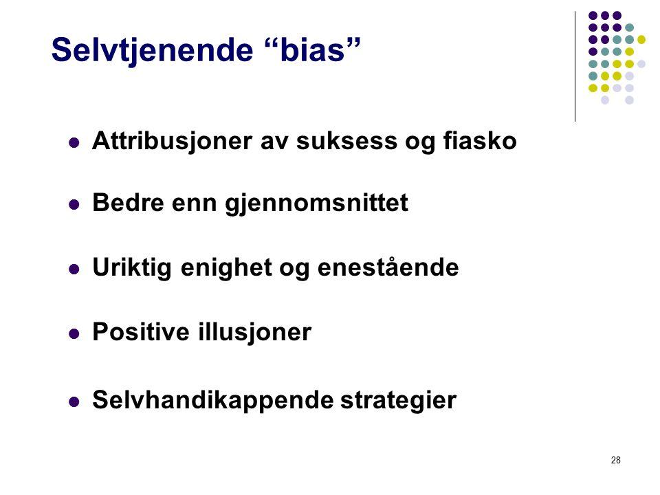"""28 Selvtjenende """"bias"""" Attribusjoner av suksess og fiasko Bedre enn gjennomsnittet Uriktig enighet og enestående Positive illusjoner Selvhandikappende"""