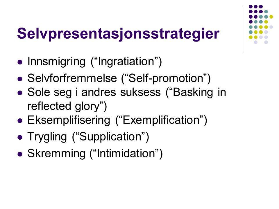 """Selvpresentasjonsstrategier Innsmigring (""""Ingratiation"""") Selvforfremmelse (""""Self-promotion"""") Sole seg i andres suksess (""""Basking in reflected glory"""")"""