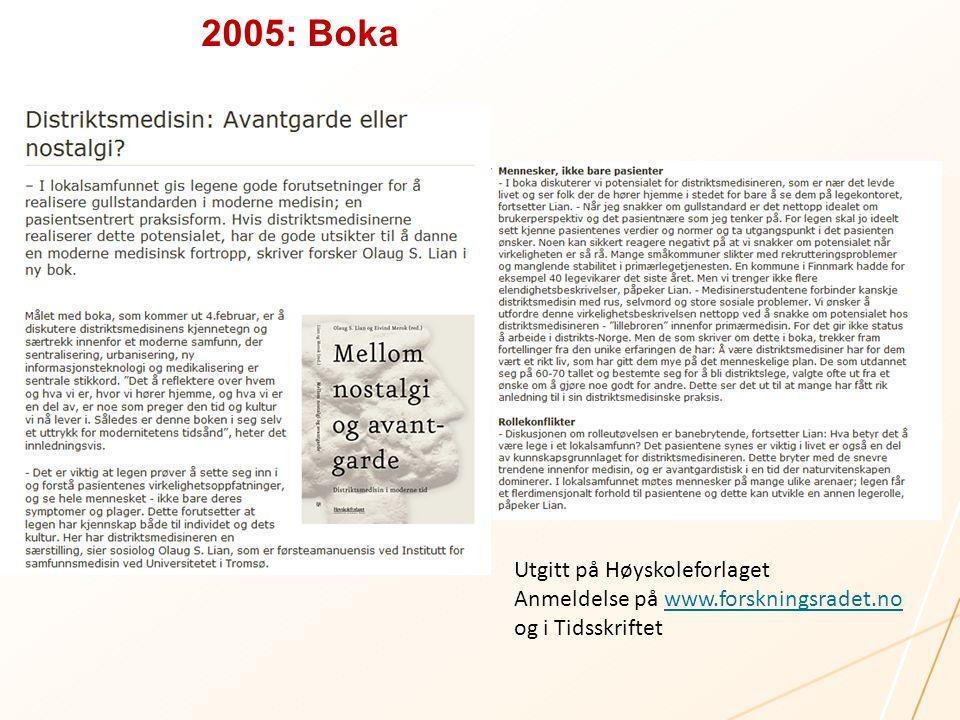 2005: Boka Utgitt på Høyskoleforlaget Anmeldelse på www.forskningsradet.nowww.forskningsradet.no og i Tidsskriftet