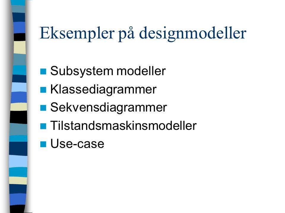 Eksempler på designmodeller Subsystem modeller Klassediagrammer Sekvensdiagrammer Tilstandsmaskinsmodeller Use-case