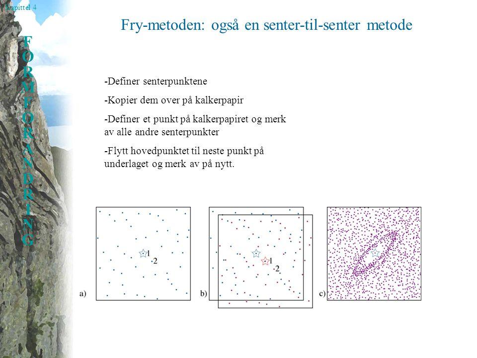 Kapittel 4 FORMFORANDRINGFORMFORANDRING Fry-metoden: også en senter-til-senter metode -Definer senterpunktene -Kopier dem over på kalkerpapir -Definer et punkt på kalkerpapiret og merk av alle andre senterpunkter -Flytt hovedpunktet til neste punkt på underlaget og merk av på nytt.