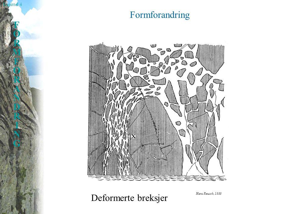 Kapittel 4 FORMFORANDRINGFORMFORANDRING Formforandring Hans Reusch, 1888 Deformerte breksjer