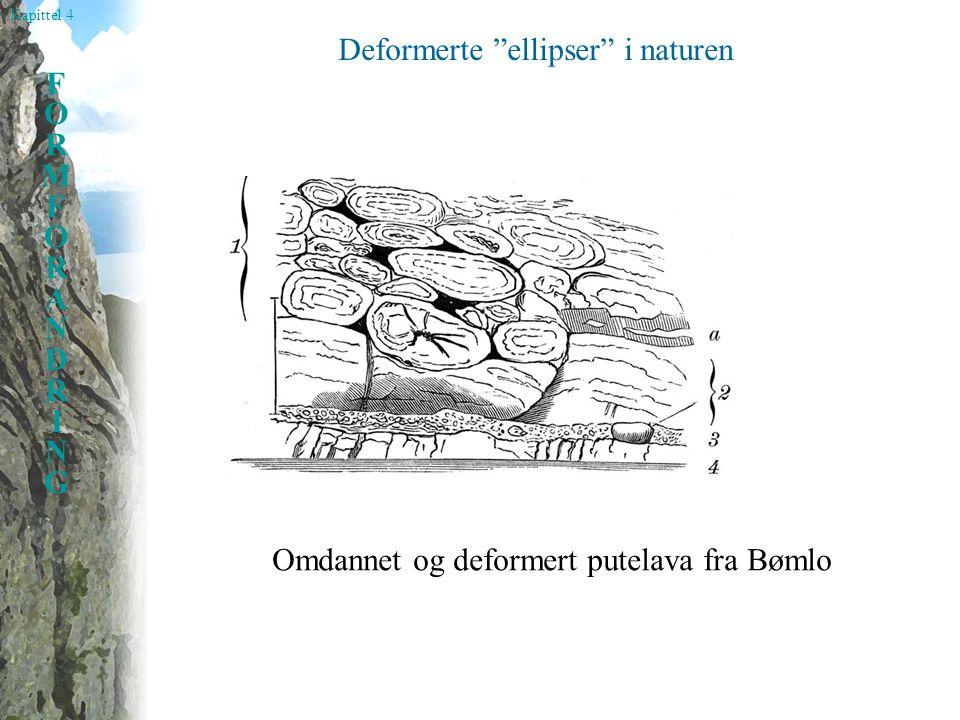 Kapittel 4 FORMFORANDRINGFORMFORANDRING Deformerte ellipser i naturen Omdannet og deformert putelava fra Bømlo