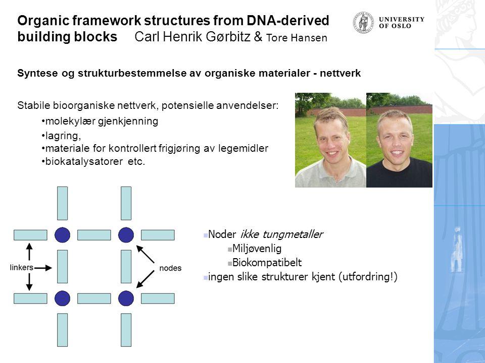 Organic framework structures from DNA-derived building blocks Carl Henrik Gørbitz & Tore Hansen Syntese og strukturbestemmelse av organiske materialer