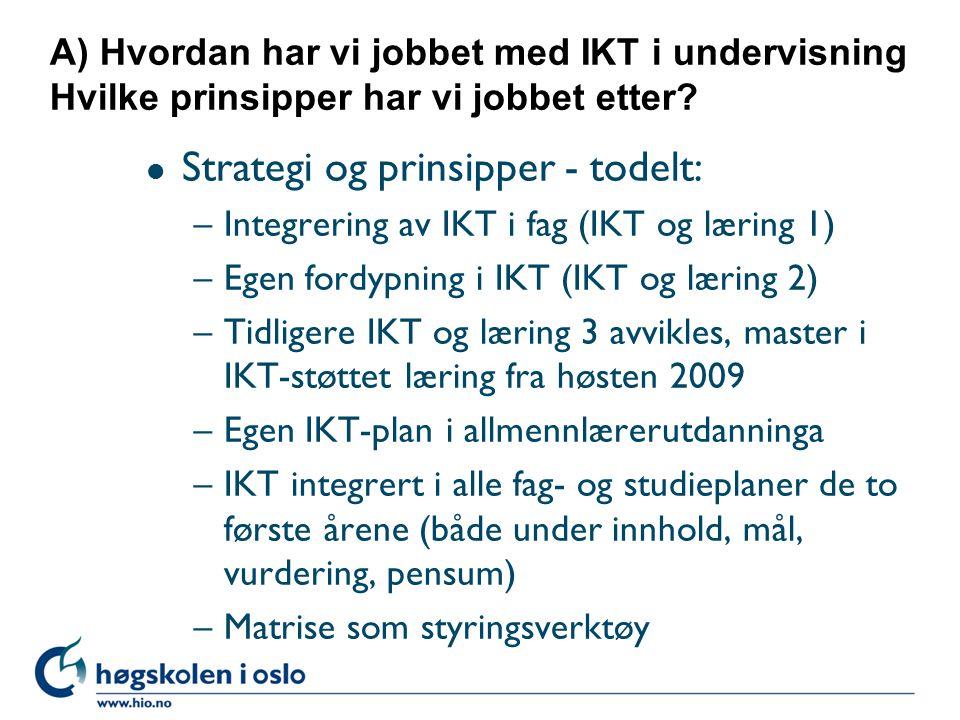 A) Hvordan har vi jobbet med IKT i undervisning Hvilke prinsipper har vi jobbet etter.