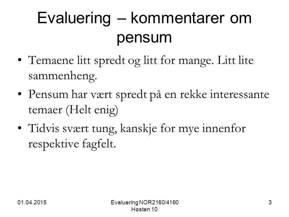 01.04.2015Evaluering NOR2160/4160 Høsten 10 3 Evaluering – kommentarer om pensum Temaene litt spredt og litt for mange.