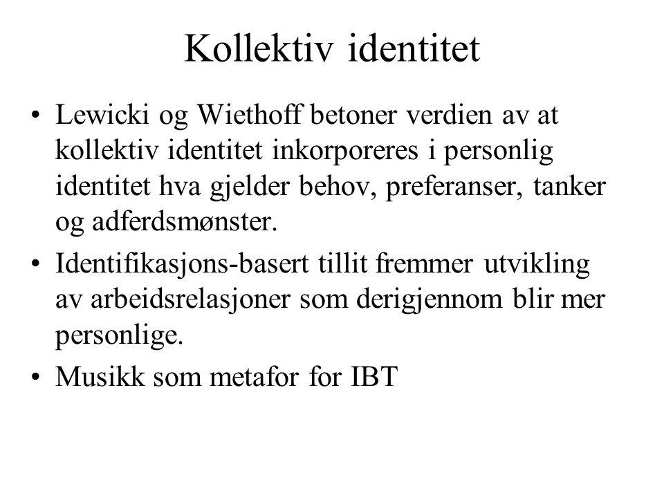 Kollektiv identitet Lewicki og Wiethoff betoner verdien av at kollektiv identitet inkorporeres i personlig identitet hva gjelder behov, preferanser, t