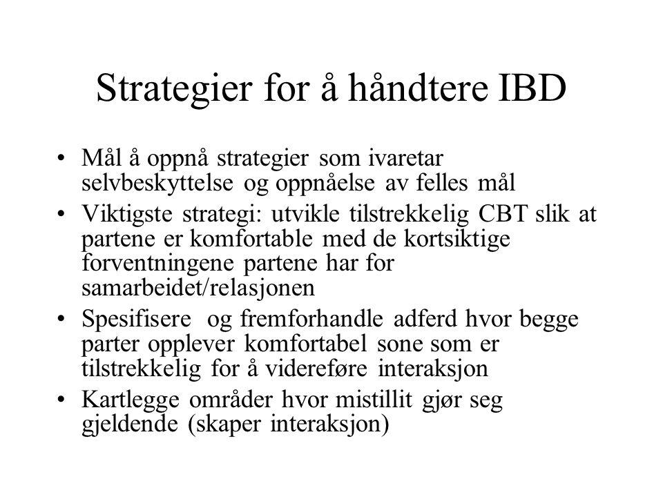 Strategier for å håndtere IBD Mål å oppnå strategier som ivaretar selvbeskyttelse og oppnåelse av felles mål Viktigste strategi: utvikle tilstrekkelig