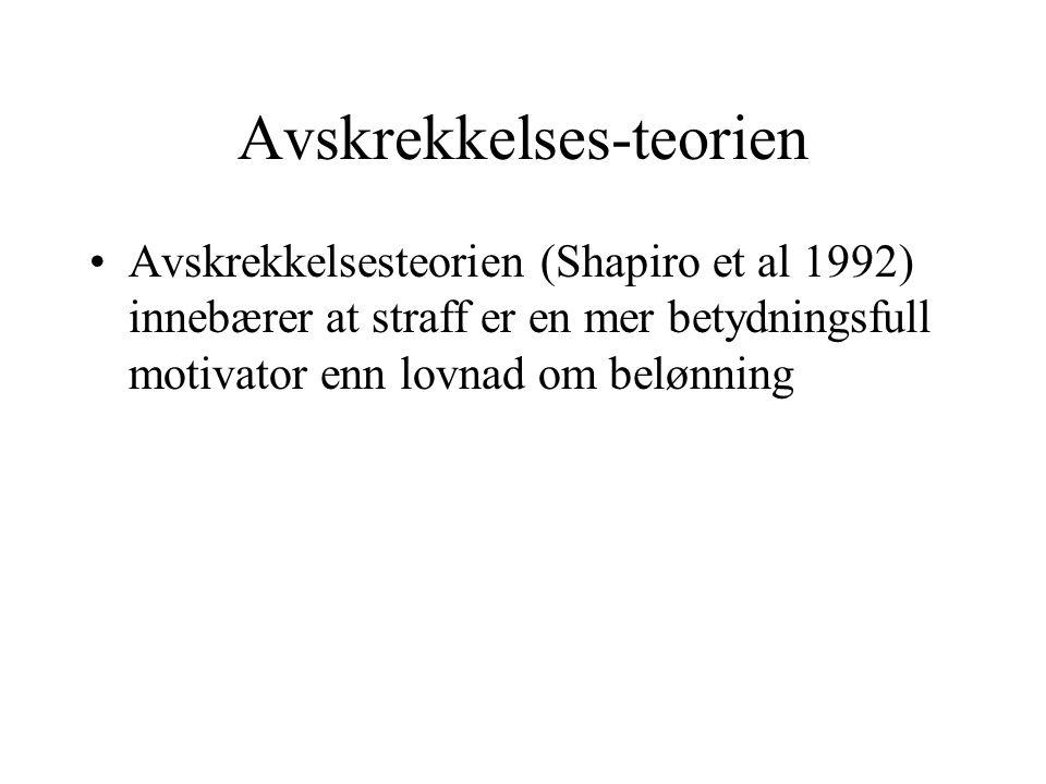 Avskrekkelses-teorien Avskrekkelsesteorien (Shapiro et al 1992) innebærer at straff er en mer betydningsfull motivator enn lovnad om belønning
