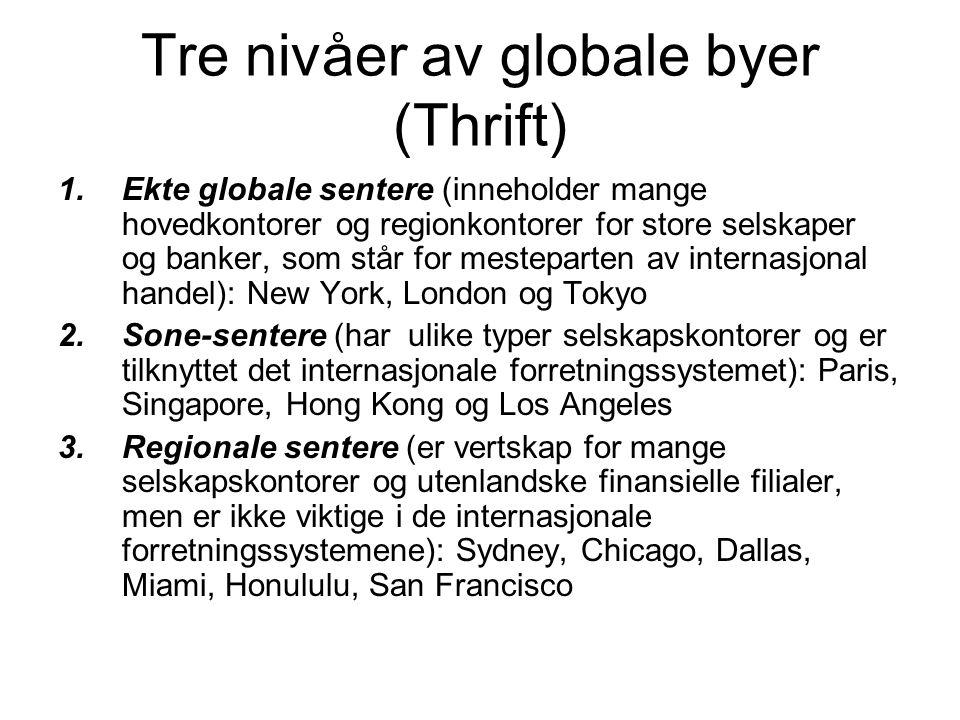 Tre nivåer av globale byer (Thrift) 1.Ekte globale sentere (inneholder mange hovedkontorer og regionkontorer for store selskaper og banker, som står for mesteparten av internasjonal handel): New York, London og Tokyo 2.Sone-sentere (har ulike typer selskapskontorer og er tilknyttet det internasjonale forretningssystemet): Paris, Singapore, Hong Kong og Los Angeles 3.Regionale sentere (er vertskap for mange selskapskontorer og utenlandske finansielle filialer, men er ikke viktige i de internasjonale forretningssystemene): Sydney, Chicago, Dallas, Miami, Honululu, San Francisco