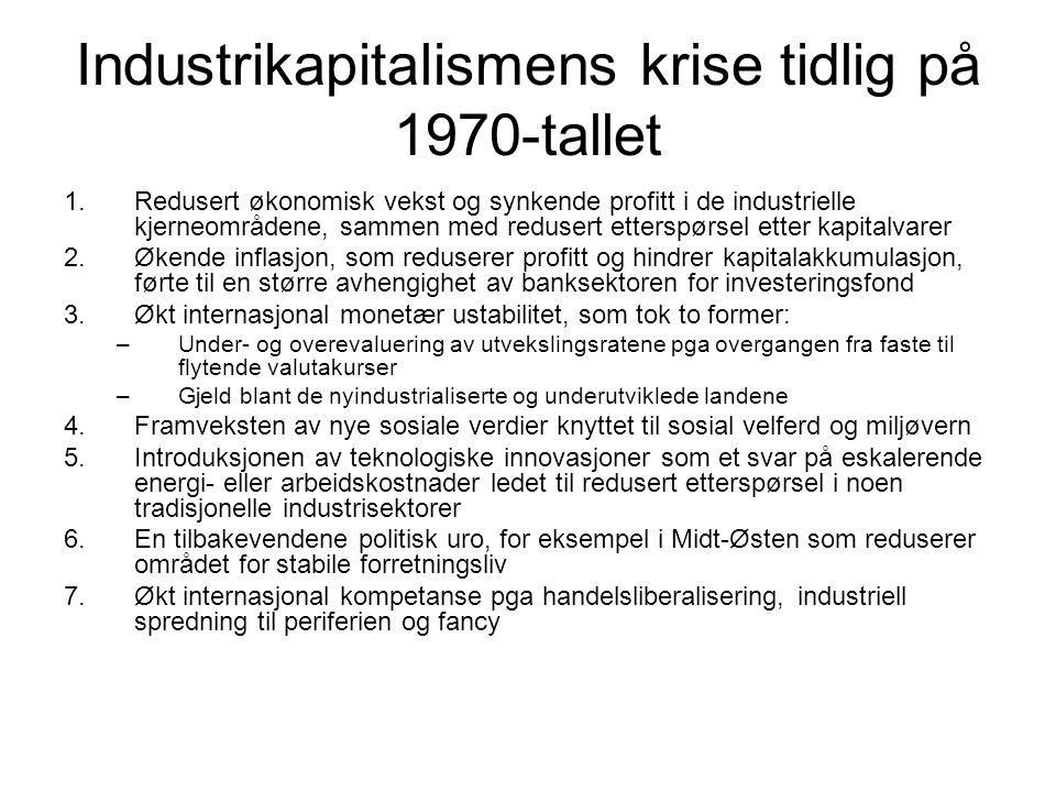 Industrikapitalismens krise tidlig på 1970-tallet 1.Redusert økonomisk vekst og synkende profitt i de industrielle kjerneområdene, sammen med redusert etterspørsel etter kapitalvarer 2.Økende inflasjon, som reduserer profitt og hindrer kapitalakkumulasjon, førte til en større avhengighet av banksektoren for investeringsfond 3.Økt internasjonal monetær ustabilitet, som tok to former: –Under- og overevaluering av utvekslingsratene pga overgangen fra faste til flytende valutakurser –Gjeld blant de nyindustrialiserte og underutviklede landene 4.Framveksten av nye sosiale verdier knyttet til sosial velferd og miljøvern 5.Introduksjonen av teknologiske innovasjoner som et svar på eskalerende energi- eller arbeidskostnader ledet til redusert etterspørsel i noen tradisjonelle industrisektorer 6.En tilbakevendene politisk uro, for eksempel i Midt-Østen som reduserer området for stabile forretningsliv 7.Økt internasjonal kompetanse pga handelsliberalisering, industriell spredning til periferien og fancy