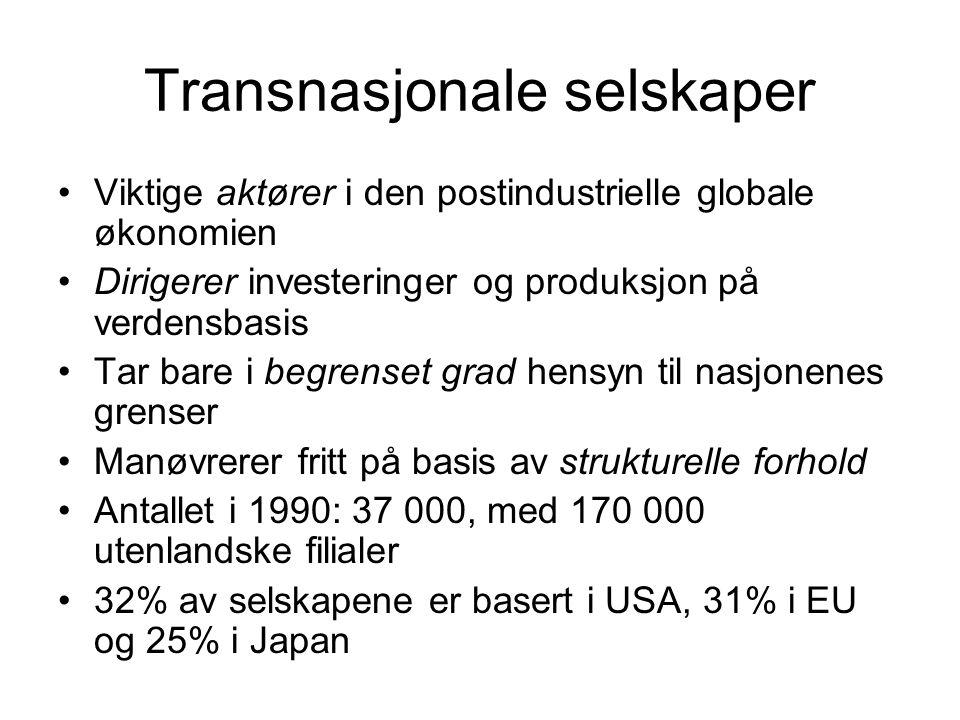 Transnasjonale selskaper Viktige aktører i den postindustrielle globale økonomien Dirigerer investeringer og produksjon på verdensbasis Tar bare i begrenset grad hensyn til nasjonenes grenser Manøvrerer fritt på basis av strukturelle forhold Antallet i 1990: 37 000, med 170 000 utenlandske filialer 32% av selskapene er basert i USA, 31% i EU og 25% i Japan