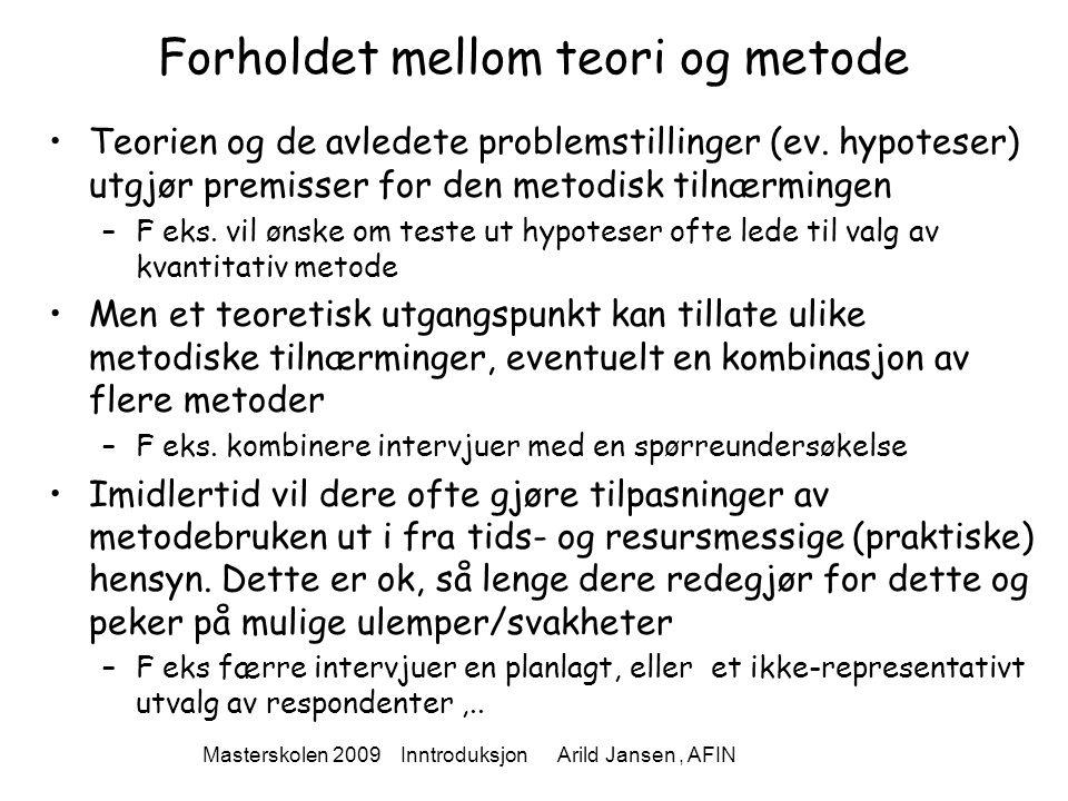 Masterskolen 2009 Inntroduksjon Arild Jansen, AFIN Forholdet mellom teori og metode Teorien og de avledete problemstillinger (ev. hypoteser) utgjør pr