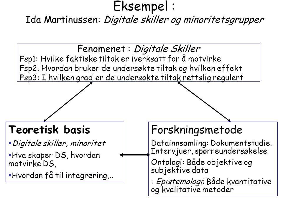 Eksempel : Ida Martinussen: Digitale skiller og minoritetsgrupper Fenomenet : Digitale Skiller Fsp1: Hvilke faktiske tiltak er iverksatt for å motvirk