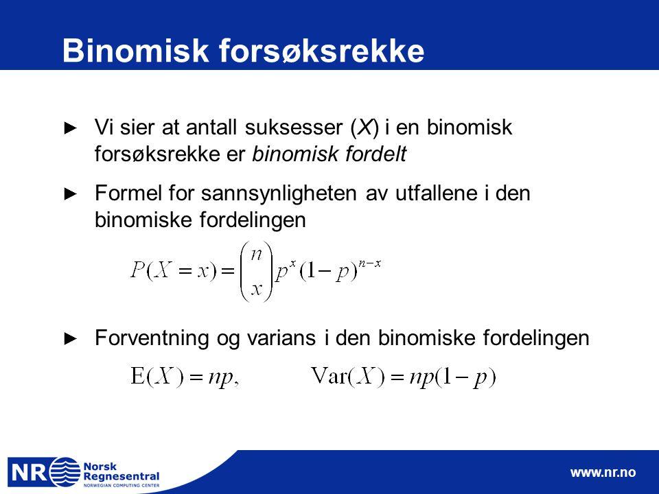 www.nr.no Binomisk forsøksrekke ► Vi sier at antall suksesser (X) i en binomisk forsøksrekke er binomisk fordelt ► Formel for sannsynligheten av utfal