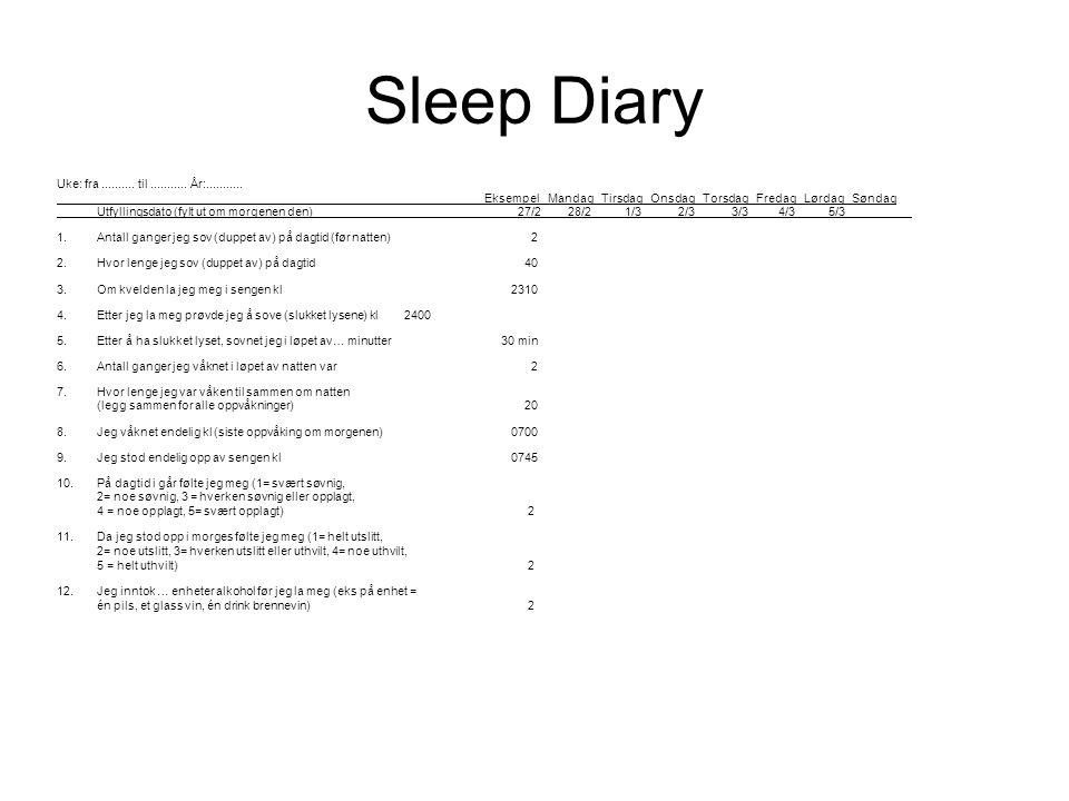 Sleep Diary Uke: fra..........til........... År:...........