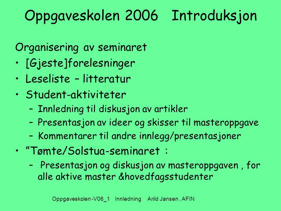 Oppgaveskolen -V06_1 Innledning Arild Jansen, AFIN Oppgaveskolen 2006 Introduksjon Organisering av seminaret [Gjeste]forelesninger Leseliste – littera