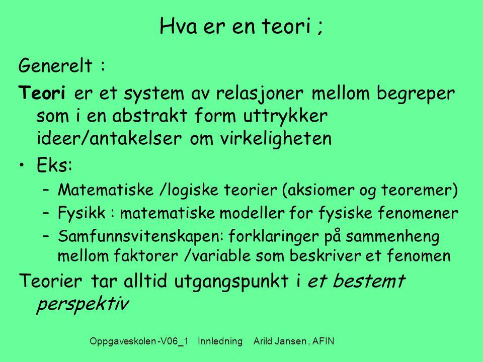 Oppgaveskolen -V06_1 Innledning Arild Jansen, AFIN Hva er en teori ; Generelt : Teori er et system av relasjoner mellom begreper som i en abstrakt form uttrykker ideer/antakelser om virkeligheten Eks: –Matematiske /logiske teorier (aksiomer og teoremer) –Fysikk : matematiske modeller for fysiske fenomener –Samfunnsvitenskapen: forklaringer på sammenheng mellom faktorer /variable som beskriver et fenomen Teorier tar alltid utgangspunkt i et bestemt perspektiv