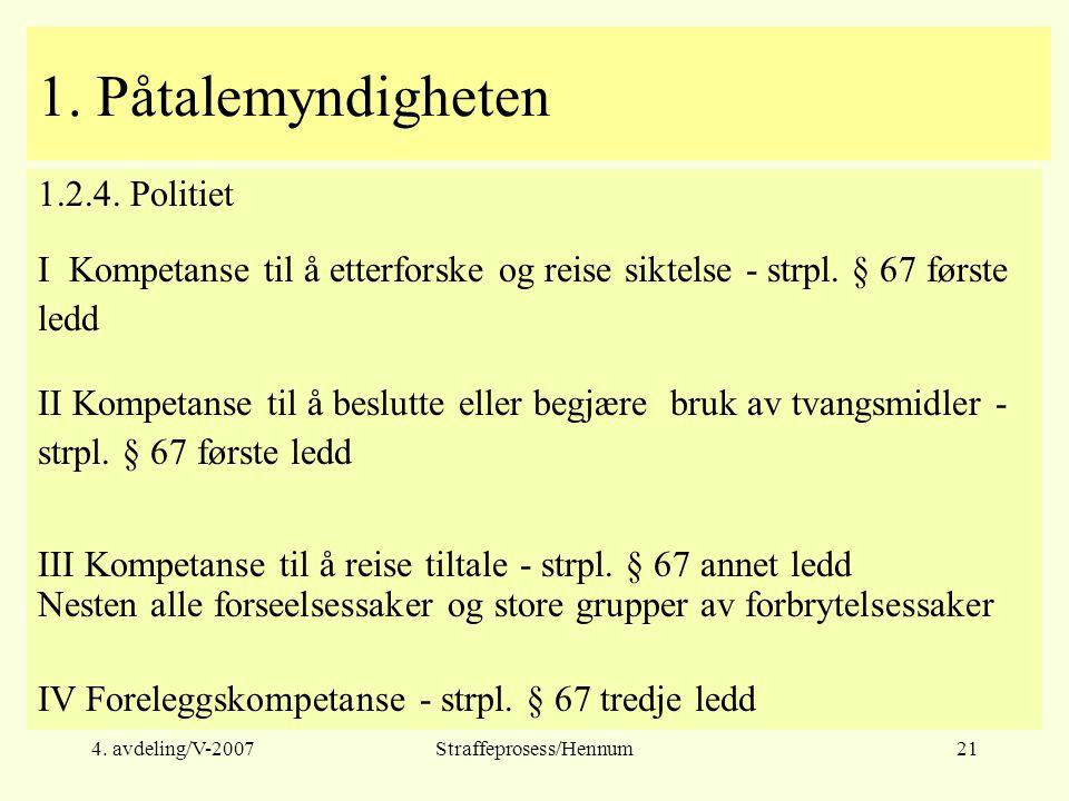 4. avdeling/V-2007Straffeprosess/Hennum21 1. Påtalemyndigheten 1.2.4.