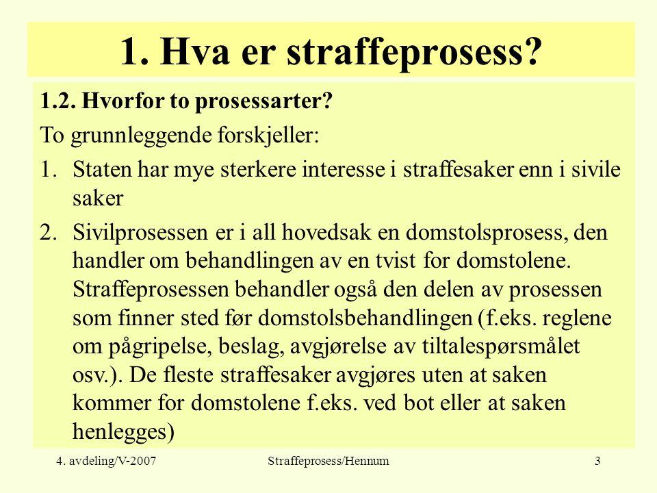 4. avdeling/V-2007Straffeprosess/Hennum3 1. Hva er straffeprosess.
