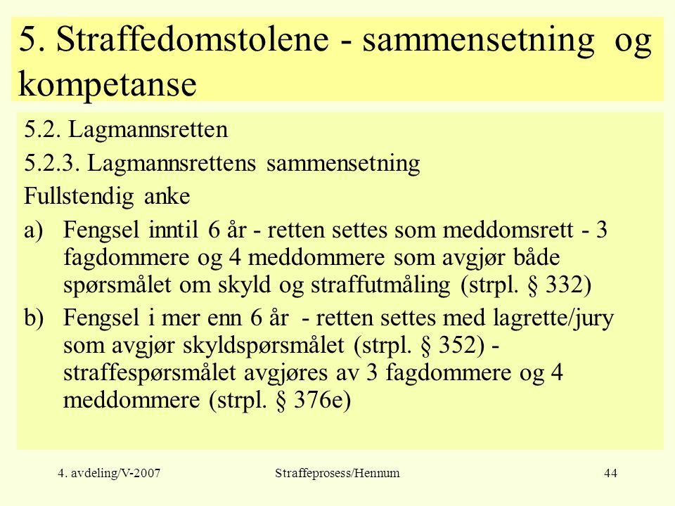 4. avdeling/V-2007Straffeprosess/Hennum44 5. Straffedomstolene - sammensetning og kompetanse 5.2.