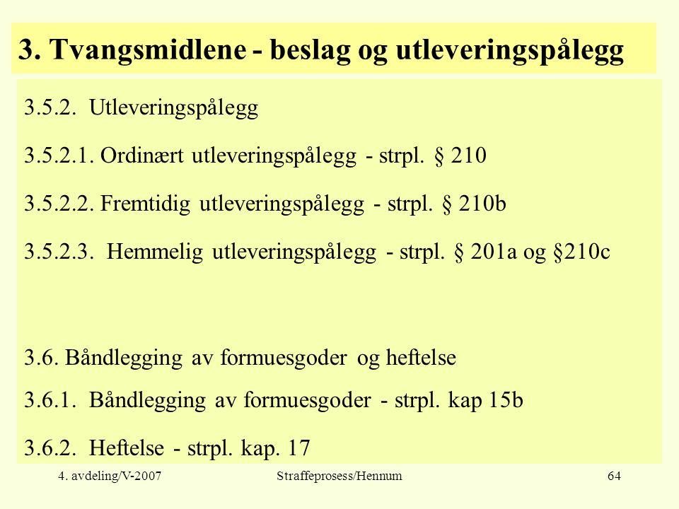 4. avdeling/V-2007Straffeprosess/Hennum64 3. Tvangsmidlene - beslag og utleveringspålegg 3.5.2.