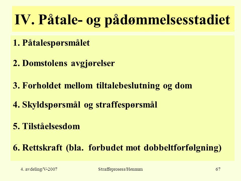 4. avdeling/V-2007Straffeprosess/Hennum67 IV. Påtale- og pådømmelsesstadiet 1.