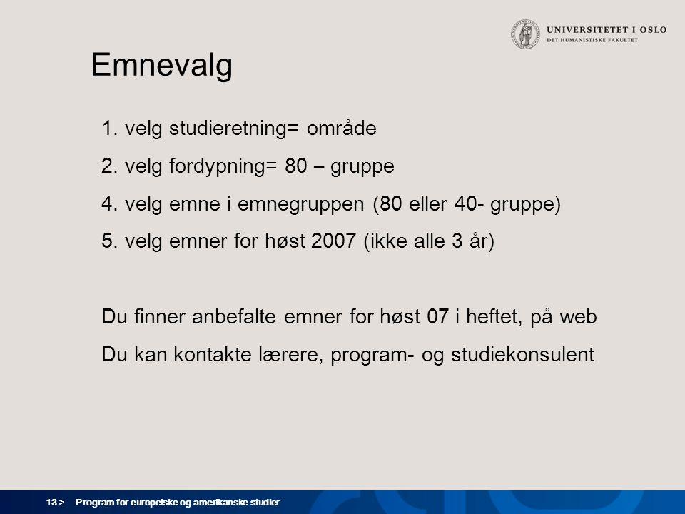13 > Program for europeiske og amerikanske studier Emnevalg 1. velg studieretning= område 2. velg fordypning= 80 – gruppe 4. velg emne i emnegruppen (