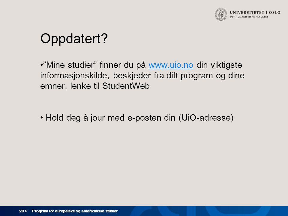 20 > Program for europeiske og amerikanske studier Oppdatert.
